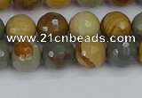 CPJ542 15.5 inches 8mm faceted round wildhorse picture jasper beads