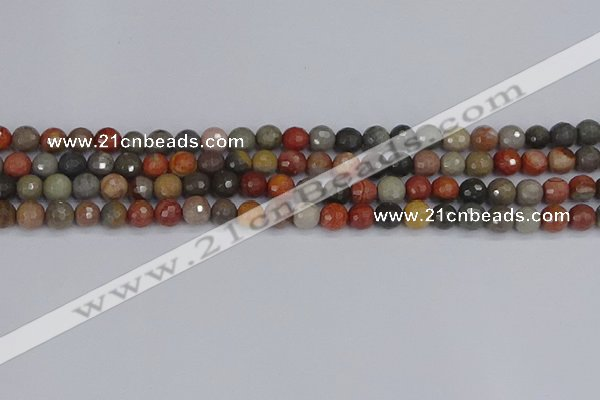 CPJ547 15.5 inches 6mm faceted round polychrome jasper beads