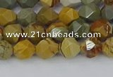 CPJ570 15.5 inches 6mm faceted nuggets wildhorse picture jasper beads