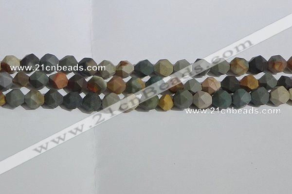 CPJ592 15.5 inches 10mm faceted nuggets matte polychrome jasper beads