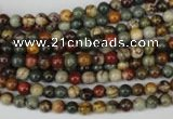 CPJ61 15.5 inches 4mm round picasso jasper gemstone beads