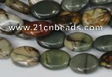 CPJ83 15.5 inches 10*14mm oval picasso jasper gemstone beads