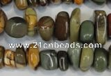 CPJ95 15.5 inches 6*14mm nuggets picasso jasper gemstone beads