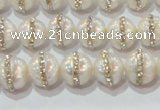 CPL01 15.5 inches 9*10mm nuggets pearl with rhinestone beads
