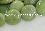 CPO18 15.5 inches 20mm flat round olivine gemstone beads wholesale