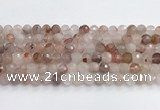 CPQ319 15.5 inches 8mm faceted round pink quartz beads