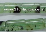 CPR245 15.5 inches 12*22mm flat tube natural prehnite beads wholesale