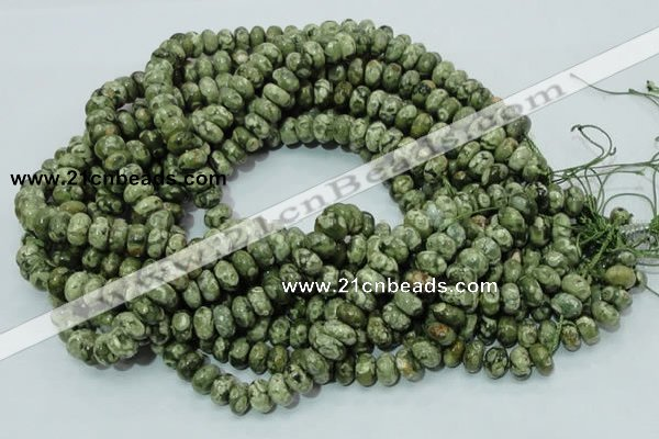CPS02 15.5 inches 6*10mm rondelle green peacock stone beads wholesale