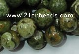 CPS06 15.5 inches 14mm round green peacock stone beads wholesale