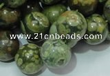 CPS07 15.5 inches 16mm round green peacock stone beads wholesale