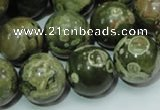 CPS08 15.5 inches 18mm round green peacock stone beads wholesale