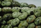 CPS10 15.5 inches 8*12mm rice green peacock stone beads wholesale