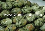 CPS11 15.5 inches 10*14mm rice green peacock stone beads wholesale