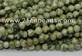 CPS110 15.5 inches 4mm round green peacock stone beads wholesale