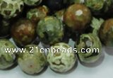 CPS113 15.5 inches 14mm faceted round green peacock stone beads