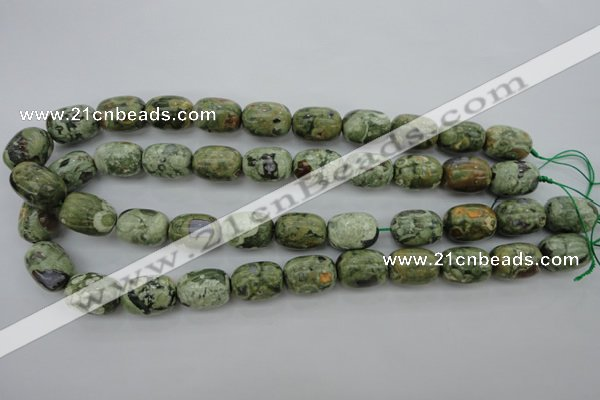 CPS127 15.5 inches 13*18mm drum green peacock stone beads