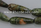 CPS133 15.5 inches 10*30mm faceted teardrop green peacock stone beads