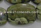 CPS144 15.5 inches 25*35mm rectangle green peacock stone beads