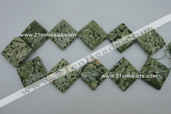 CPS146 15.5 inches 30*30mm diamond green peacock stone beads