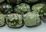 CPS16 15.5 inches 16*20mm egg-shaped green peacock stone beads