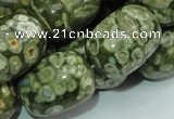 CPS17 15.5 inches 18*24mm egg-shaped green peacock stone beads