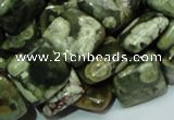 CPS18 15.5 inches 15*15mm square green peacock stone beads wholesale