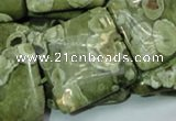 CPS20 15.5 inches 30*30mm square green peacock stone beads wholesale