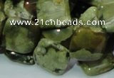 CPS21 15.5 inches 15*15mm rhombic green peacock stone beads wholesale