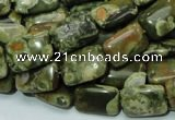 CPS24 15.5 inches 10*14mm rectangle green peacock stone beads