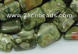 CPS25 15.5 inches 12*18mm rectangle green peacock stone beads