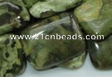 CPS28 15.5 inches 22*30mm rectangle green peacock stone beads
