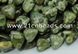 CPS30 15.5 inches 10*10mm triangle green peacock stone beads