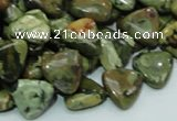 CPS31 15.5 inches 12*12mm triangle green peacock stone beads