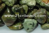 CPS32 15.5 inches 16*16mm triangle green peacock stone beads