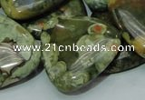 CPS34 15.5 inches 30*30mm triangle green peacock stone beads