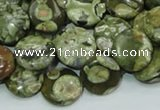 CPS36 15.5 inches 12mm flat round green peacock stone beads