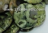 CPS39 15.5 inches 20mm flat round green peacock stone beads