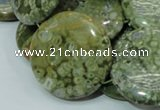 CPS40 15.5 inches 30mm flat round green peacock stone beads