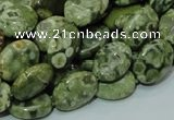 CPS43 15.5 inches 10*14mm oval green peacock stone beads wholesale