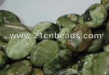 CPS44 15.5 inches 12*16mm oval green peacock stone beads wholesale