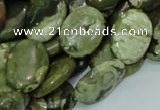 CPS45 15.5 inches 14*18mm oval green peacock stone beads wholesale