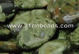 CPS46 15.5 inches 15*30mm oval green peacock stone beads wholesale