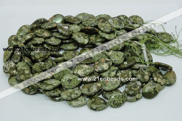 CPS48 15.5 inches 18*25mm flat teardrop green peacock stone beads