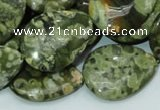 CPS49 15.5 inches 22*30mm flat teardrop green peacock stone beads