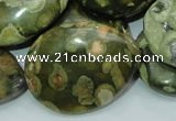 CPS50 15.5 inches 30*40mm flat teardrop green peacock stone beads