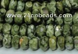 CPS53 15.5 inches 6*10mm faceted rondelle green peacock stone beads