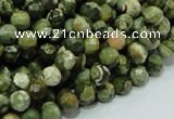 CPS56 15.5 inches 8mm faceted round green peacock stone beads