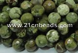 CPS57 15.5 inches 10mm faceted round green peacock stone beads