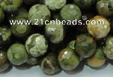 CPS58 15.5 inches 12mm faceted round green peacock stone beads