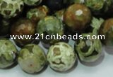 CPS59 15.5 inches 16mm faceted round green peacock stone beads